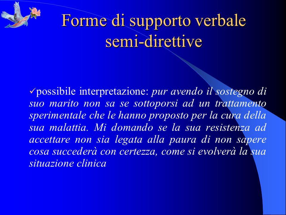 Forme di supporto verbale semi-direttive possibile interpretazione: pur avendo il sostegno di suo marito non sa se sottoporsi ad un trattamento sperim