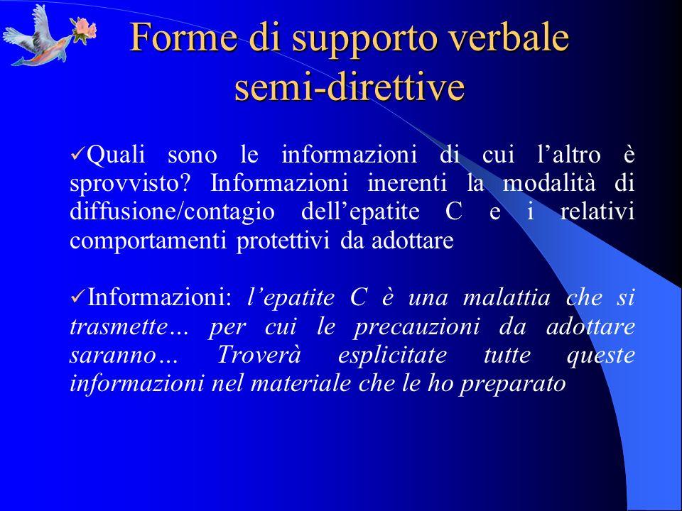 Forme di supporto verbale semi-direttive Quali sono le informazioni di cui laltro è sprovvisto? Informazioni inerenti la modalità di diffusione/contag