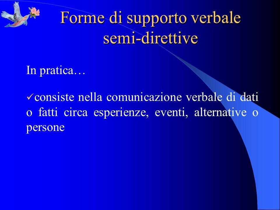 Forme di supporto verbale semi-direttive In pratica… consiste nella comunicazione verbale di dati o fatti circa esperienze, eventi, alternative o pers
