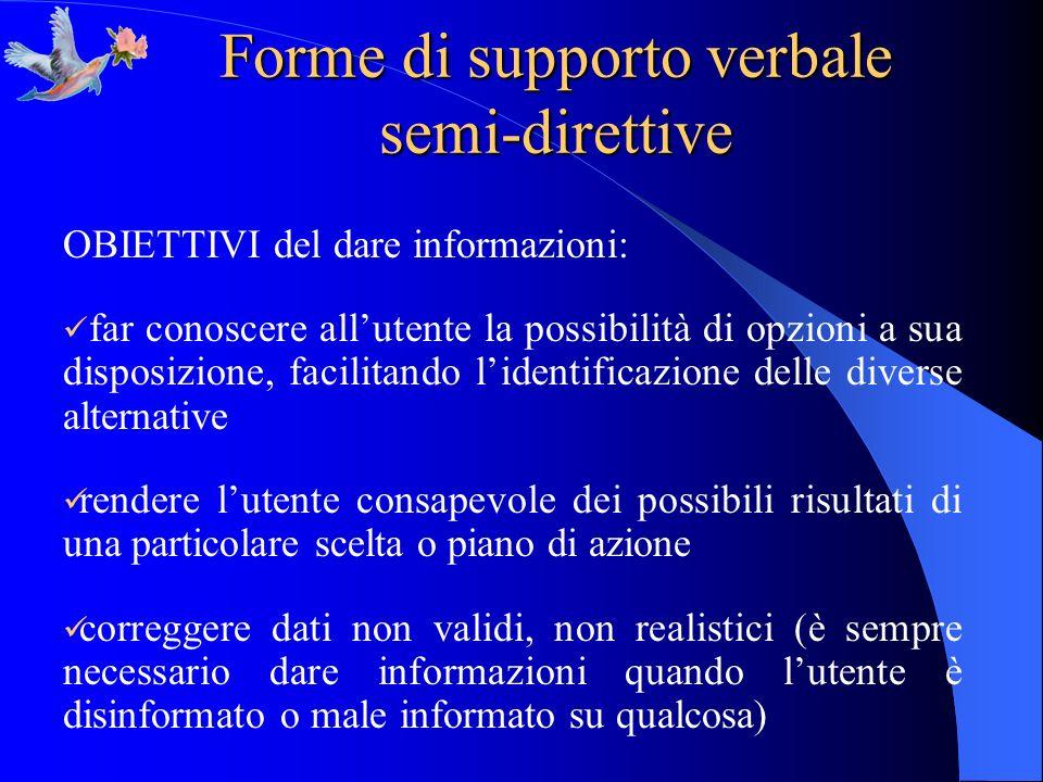 Forme di supporto verbale semi-direttive OBIETTIVI del dare informazioni: far conoscere allutente la possibilità di opzioni a sua disposizione, facili