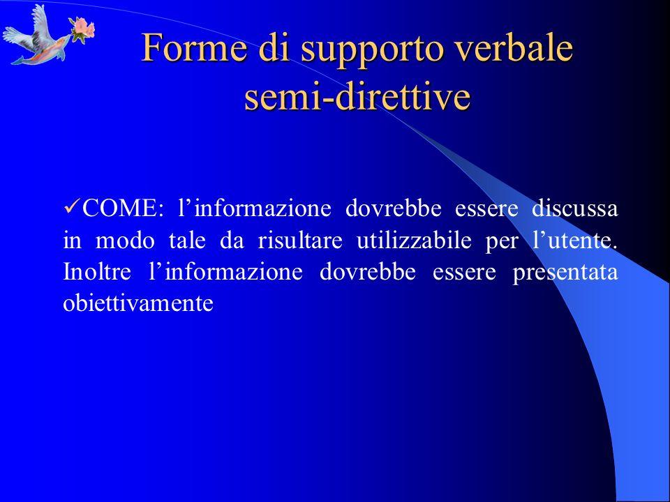 Forme di supporto verbale semi-direttive COME: linformazione dovrebbe essere discussa in modo tale da risultare utilizzabile per lutente. Inoltre linf