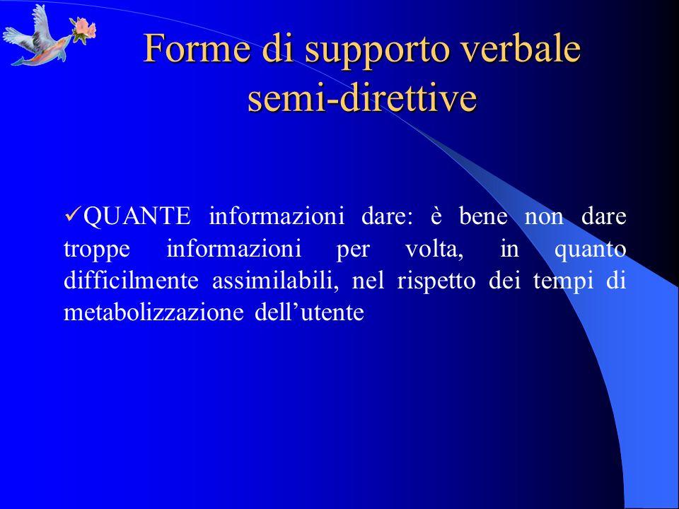 Forme di supporto verbale semi-direttive QUANTE informazioni dare: è bene non dare troppe informazioni per volta, in quanto difficilmente assimilabili