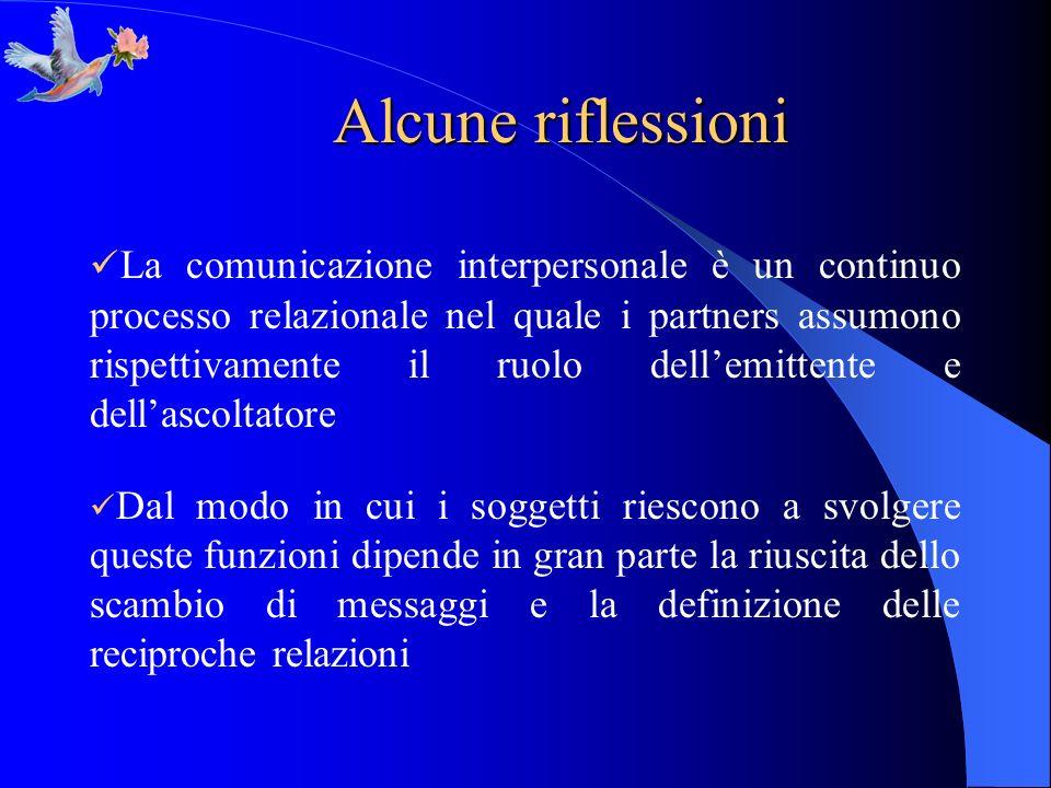 Alcune riflessioni La comunicazione interpersonale è un continuo processo relazionale nel quale i partners assumono rispettivamente il ruolo dellemitt