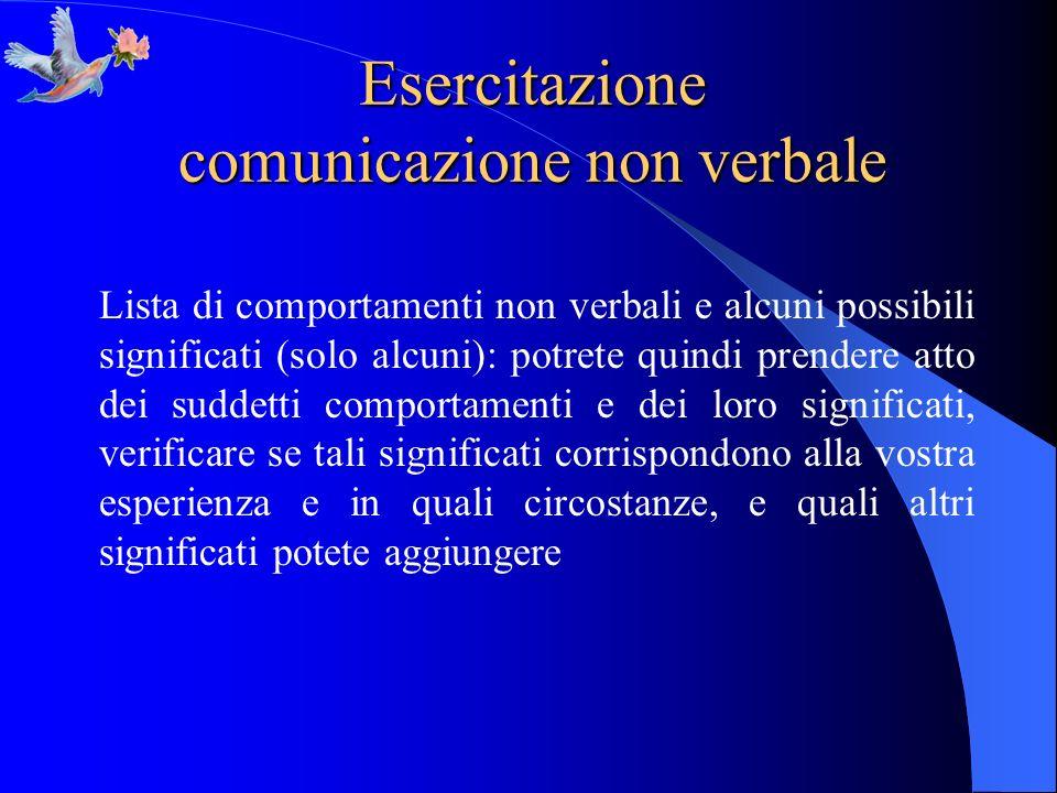Esercitazione comunicazione non verbale Lista di comportamenti non verbali e alcuni possibili significati (solo alcuni): potrete quindi prendere atto