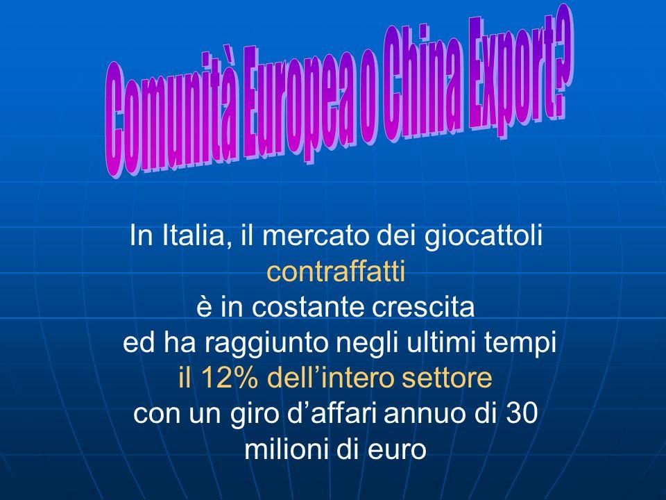 In Italia, il mercato dei giocattoli contraffatti è in costante crescita ed ha raggiunto negli ultimi tempi il 12% dellintero settore con un giro daff