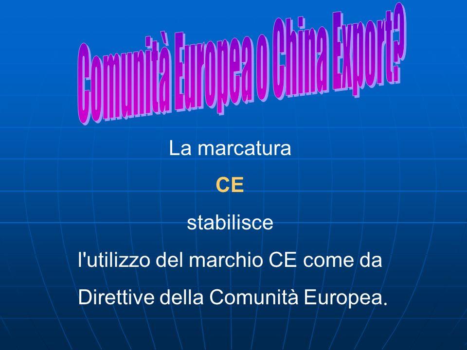 La marcatura CE stabilisce l'utilizzo del marchio CE come da Direttive della Comunità Europea.