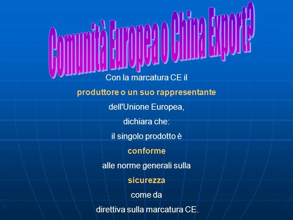 Con la marcatura CE il produttore o un suo rappresentante dell'Unione Europea, dichiara che: il singolo prodotto è conforme alle norme generali sulla