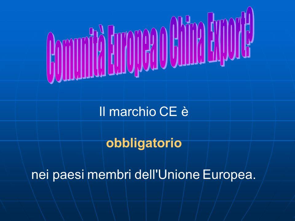 Il marchio CE è obbligatorio nei paesi membri dell'Unione Europea.