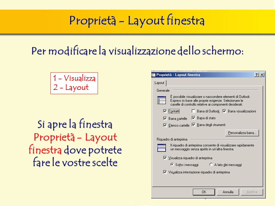 Proprietà - Layout finestra Per modificare la visualizzazione dello schermo: 1 - Visualizza 2 - Layout Si apre la finestra Proprietà - Layout finestra dove potrete fare le vostre scelte