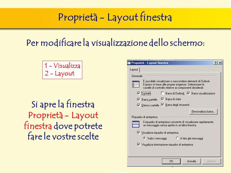 Proprietà - Layout finestra Per modificare la visualizzazione dello schermo: 1 - Visualizza 2 - Layout Si apre la finestra Proprietà - Layout finestra