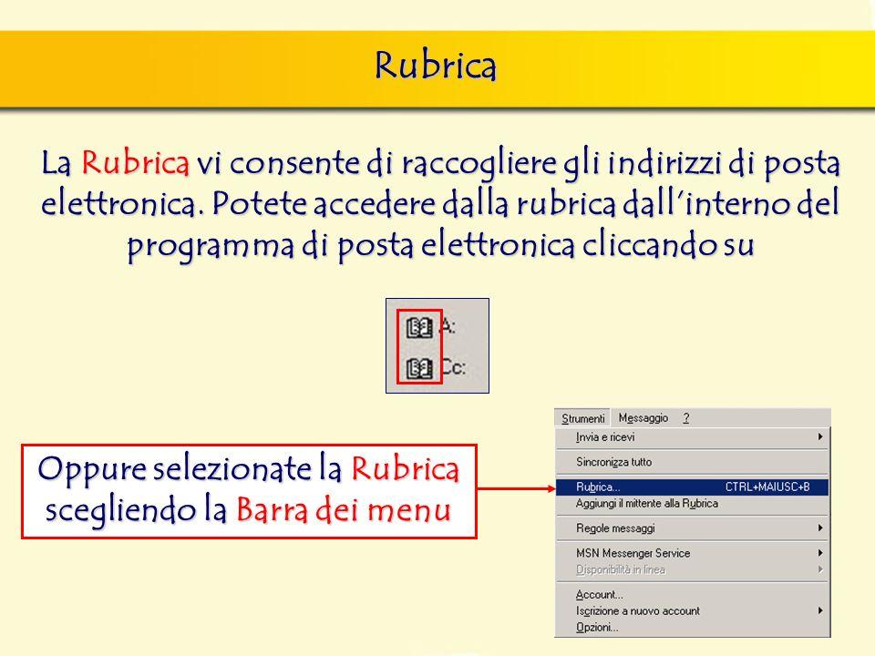 Rubrica La Rubrica vi consente di raccogliere gli indirizzi di posta elettronica.
