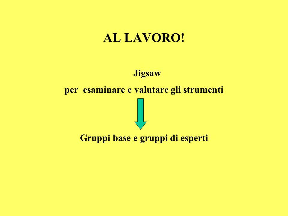 AL LAVORO! Jigsaw per esaminare e valutare gli strumenti Gruppi base e gruppi di esperti