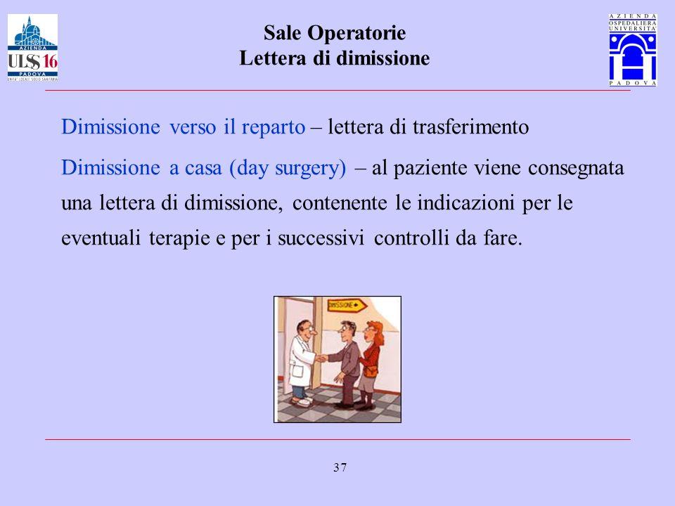 37 Sale Operatorie Lettera di dimissione Dimissione verso il reparto – lettera di trasferimento Dimissione a casa (day surgery) – al paziente viene co