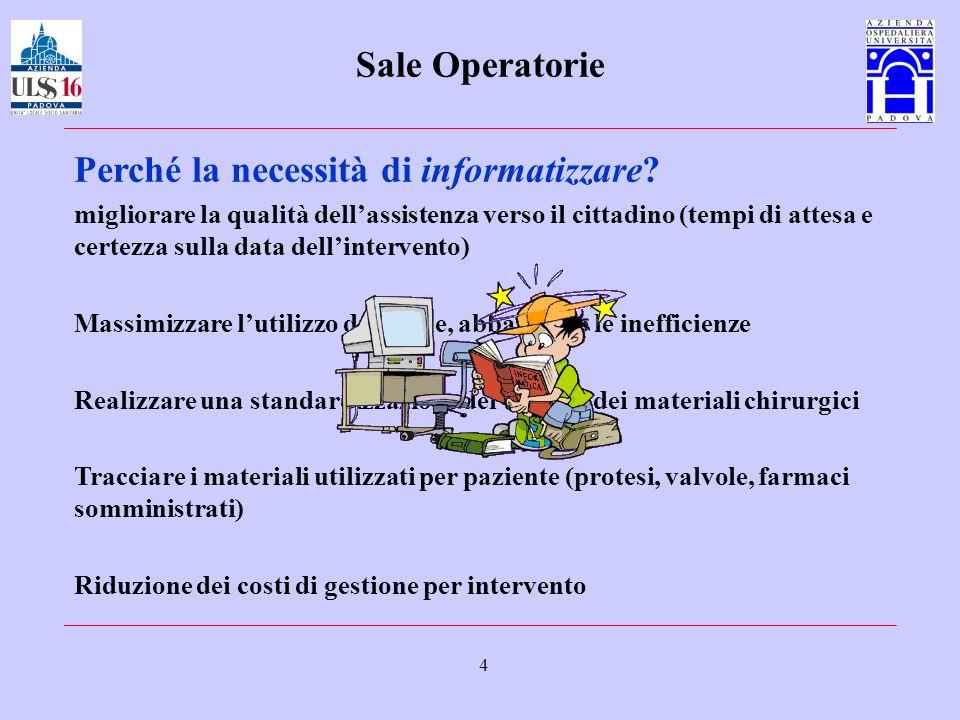 4 Sale Operatorie Perché la necessità di informatizzare? migliorare la qualità dellassistenza verso il cittadino (tempi di attesa e certezza sulla dat