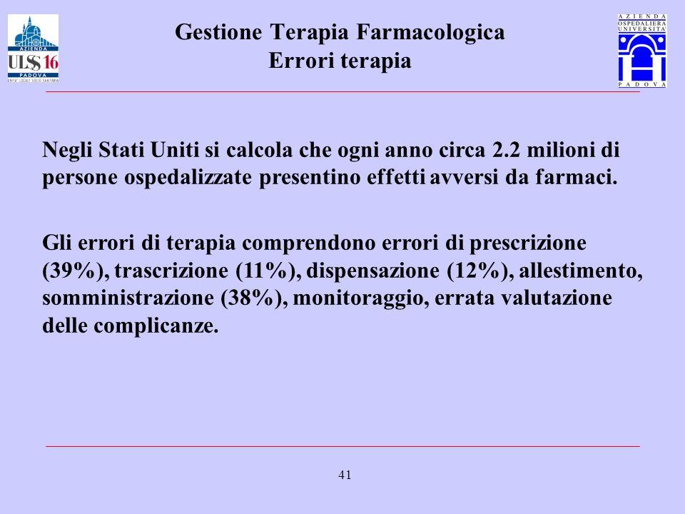 41 Gestione Terapia Farmacologica Errori terapia Negli Stati Uniti si calcola che ogni anno circa 2.2 milioni di persone ospedalizzate presentino effe