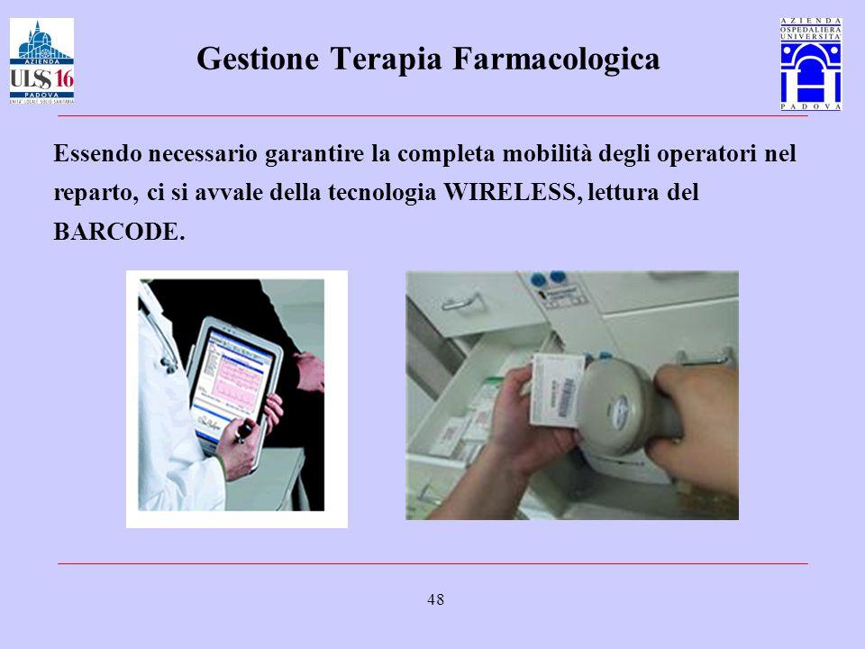 48 Gestione Terapia Farmacologica Essendo necessario garantire la completa mobilità degli operatori nel reparto, ci si avvale della tecnologia WIRELES