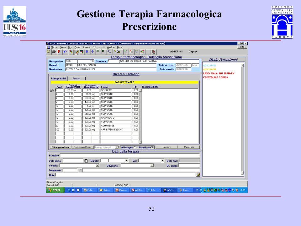 52 Gestione Terapia Farmacologica Prescrizione