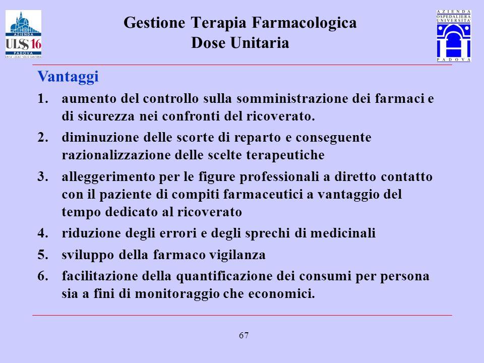 67 Gestione Terapia Farmacologica Dose Unitaria Vantaggi 1.aumento del controllo sulla somministrazione dei farmaci e di sicurezza nei confronti del r