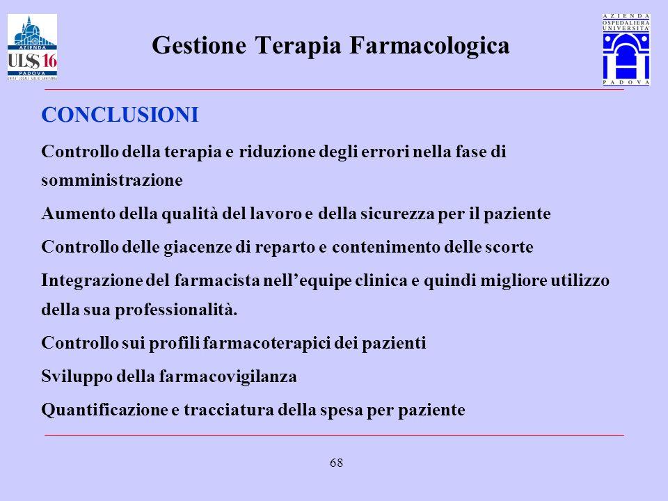 68 Gestione Terapia Farmacologica CONCLUSIONI Controllo della terapia e riduzione degli errori nella fase di somministrazione Aumento della qualità de