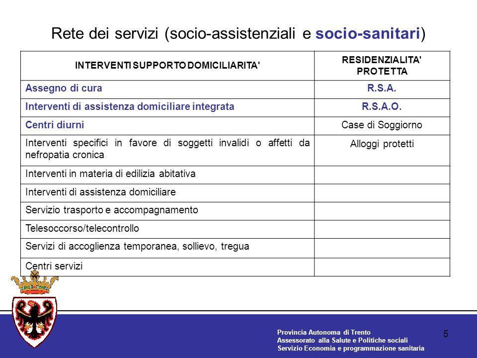 Provincia Autonoma di Trento Assessorato alla Salute e Politiche sociali Servizio Economia e programmazione sanitaria 5 Rete dei servizi (socio-assistenziali e socio-sanitari) INTERVENTI SUPPORTO DOMICILIARITA RESIDENZIALITA PROTETTA Assegno di curaR.S.A.