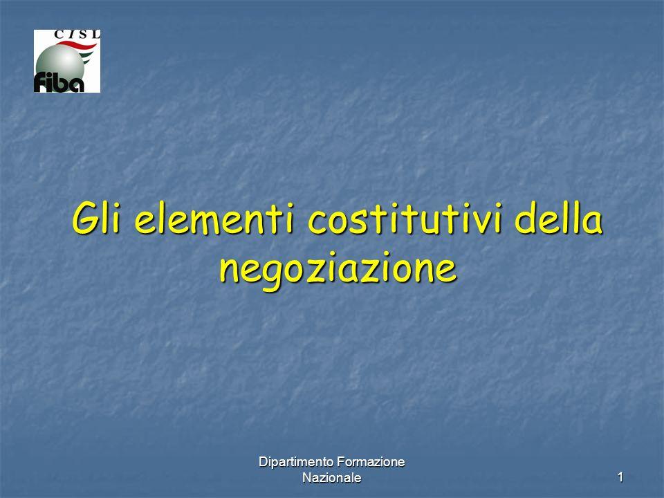 Dipartimento Formazione Nazionale 1 Gli elementi costitutivi della negoziazione