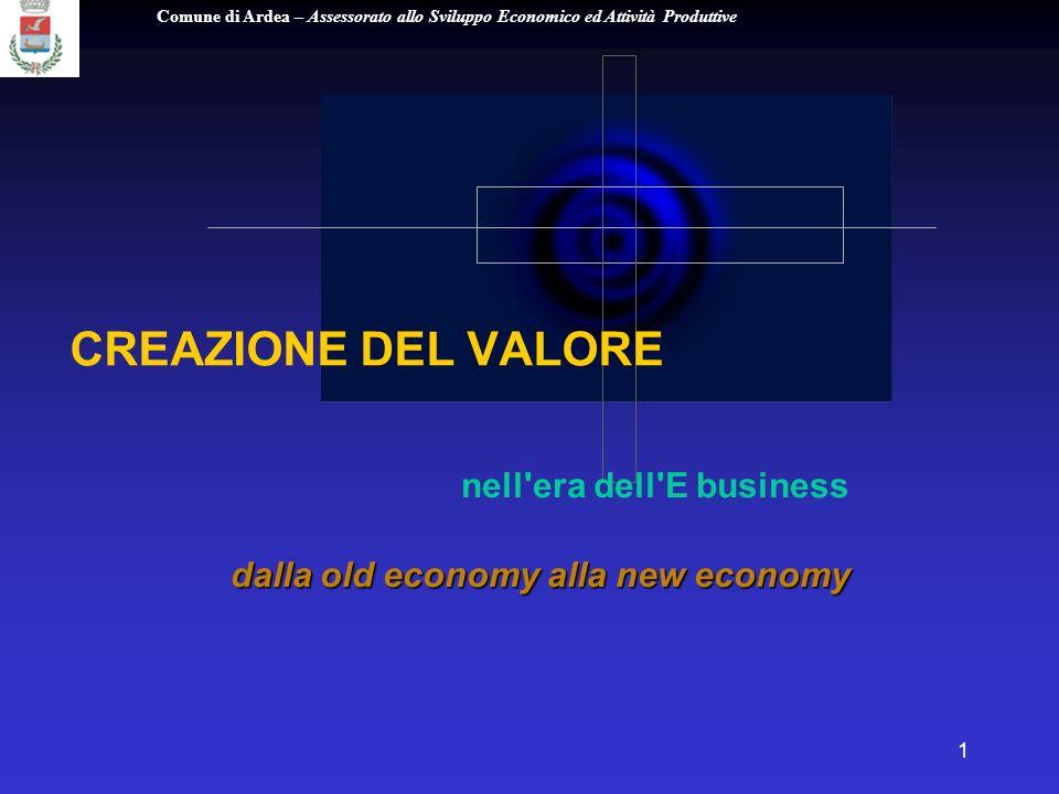 Comune di Ardea – Assessorato allo Sviluppo Economico ed Attività Produttive 1 CREAZIONE DEL VALORE nell era dell E business dalla old economy alla new economy