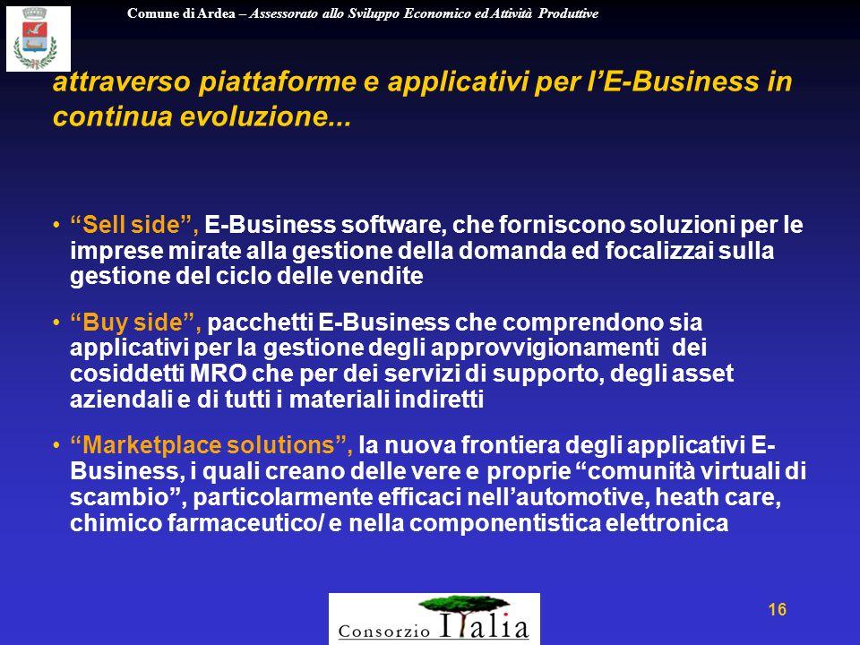 Comune di Ardea – Assessorato allo Sviluppo Economico ed Attività Produttive 16 attraverso piattaforme e applicativi per lE-Business in continua evoluzione...