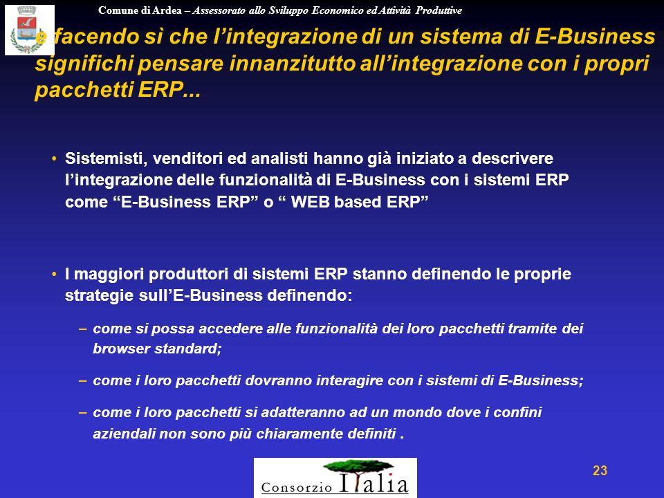 Comune di Ardea – Assessorato allo Sviluppo Economico ed Attività Produttive 23 e facendo sì che lintegrazione di un sistema di E-Business significhi pensare innanzitutto allintegrazione con i propri pacchetti ERP...
