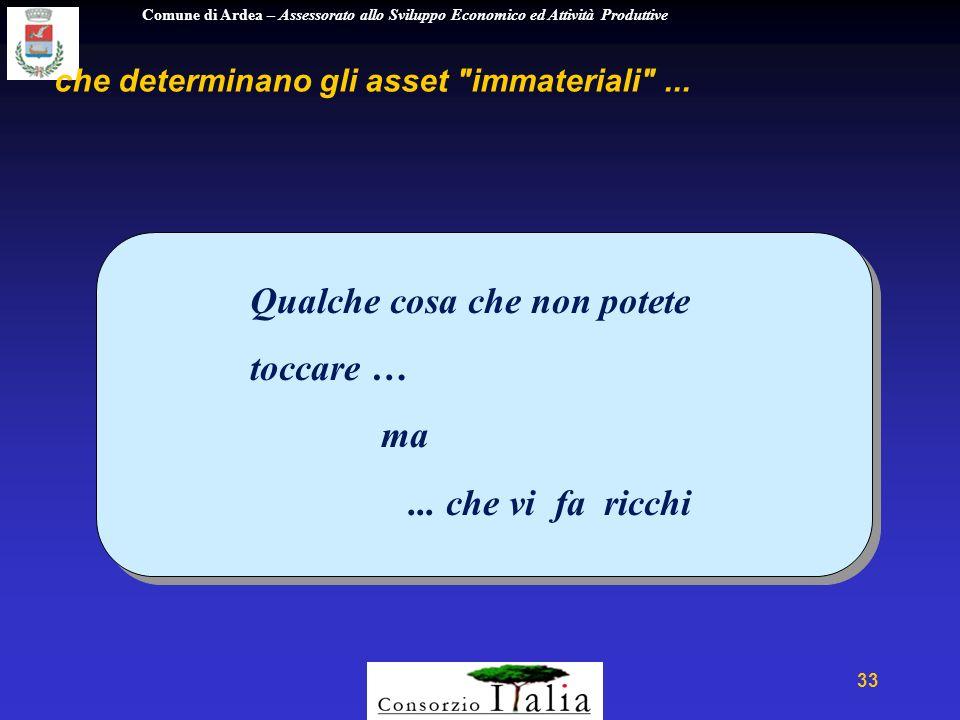 Comune di Ardea – Assessorato allo Sviluppo Economico ed Attività Produttive 33 che determinano gli asset immateriali ...