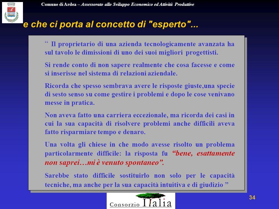 Comune di Ardea – Assessorato allo Sviluppo Economico ed Attività Produttive 34 e che ci porta al concetto di esperto ...