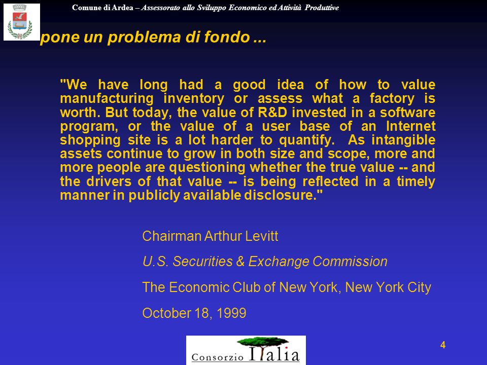 Comune di Ardea – Assessorato allo Sviluppo Economico ed Attività Produttive 25 G Tu P 3 7 3 4 Mature Company Example Profit World-class shared services Outsourcing non core functions Enterprise management software Timely, accurate reporting systems Reliable, efficient value webs Growth Customer insights Innovation process Platforms NPD and launch capabilities Deeper customer relationships Brand portability Strategic acquisitions Technology Utilization Supplier portals Customer portals Employee online self service Legitimate Web presence Compelling GUI Customer online interaction analytics Intangibles Credible eCommerce strategy (B2C,B,E) Strategic execution High quality of management Ability to attract and retain talent Innovativeness Customer positioning e di spostare la strategia dai vecchi drivers ...