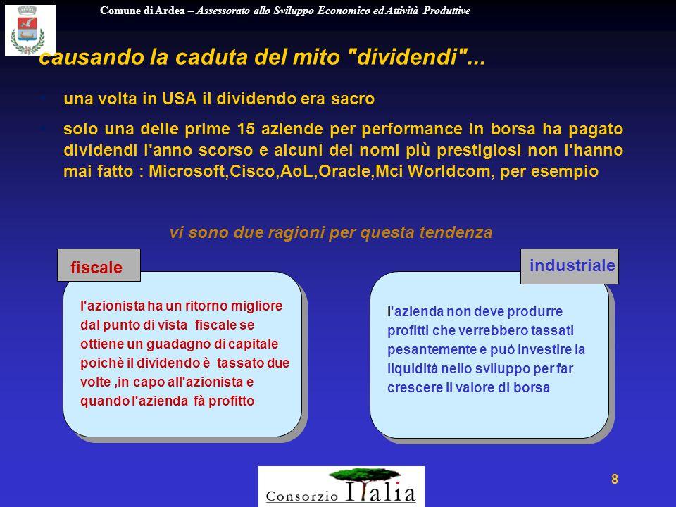 Comune di Ardea – Assessorato allo Sviluppo Economico ed Attività Produttive 8 causando la caduta del mito dividendi ...