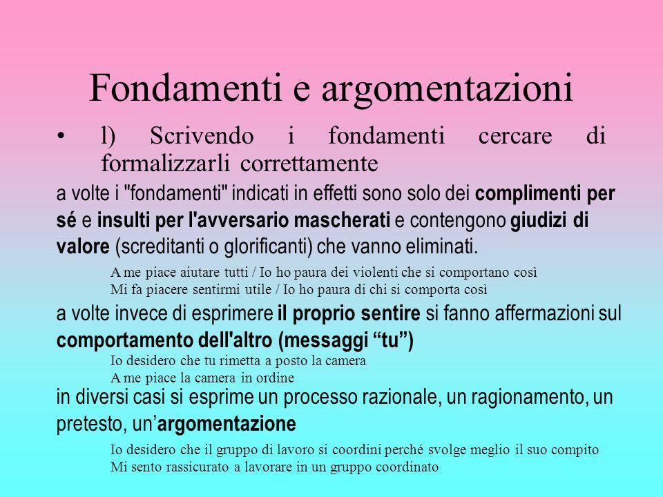 Fondamenti e argomentazioni l) Scrivendo i fondamenti cercare di formalizzarli correttamente a volte i
