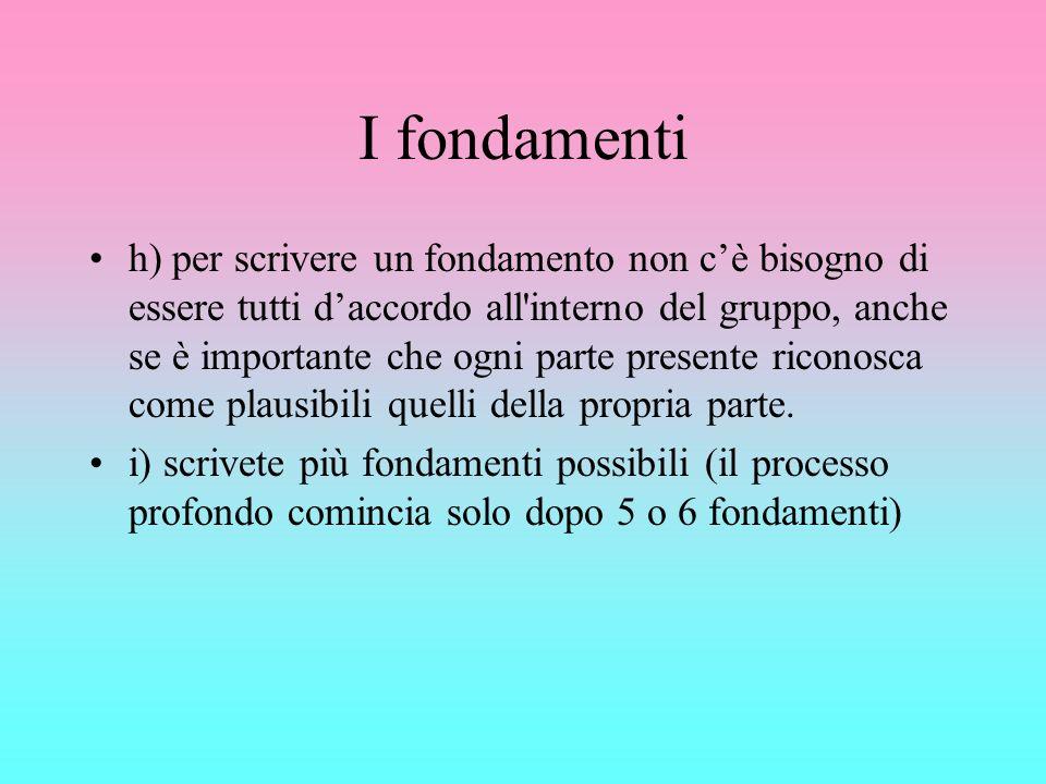 I fondamenti h) per scrivere un fondamento non cè bisogno di essere tutti daccordo all'interno del gruppo, anche se è importante che ogni parte presen