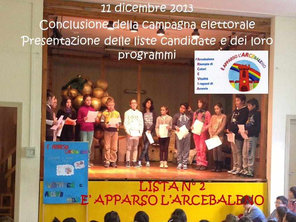 LISTA N° 3 VERSO UNARCEVIA MIGLIORE 11 dicembre 2013 Conclusione della campagna elettorale Presentazione delle liste candidate e dei loro programmi