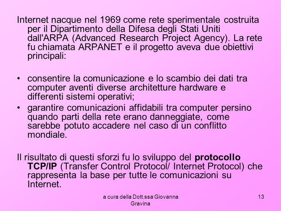 a cura della Dott.ssa Giovanna Gravina 13 Internet nacque nel 1969 come rete sperimentale costruita per il Dipartimento della Difesa degli Stati Uniti dall ARPA (Advanced Research Project Agency).