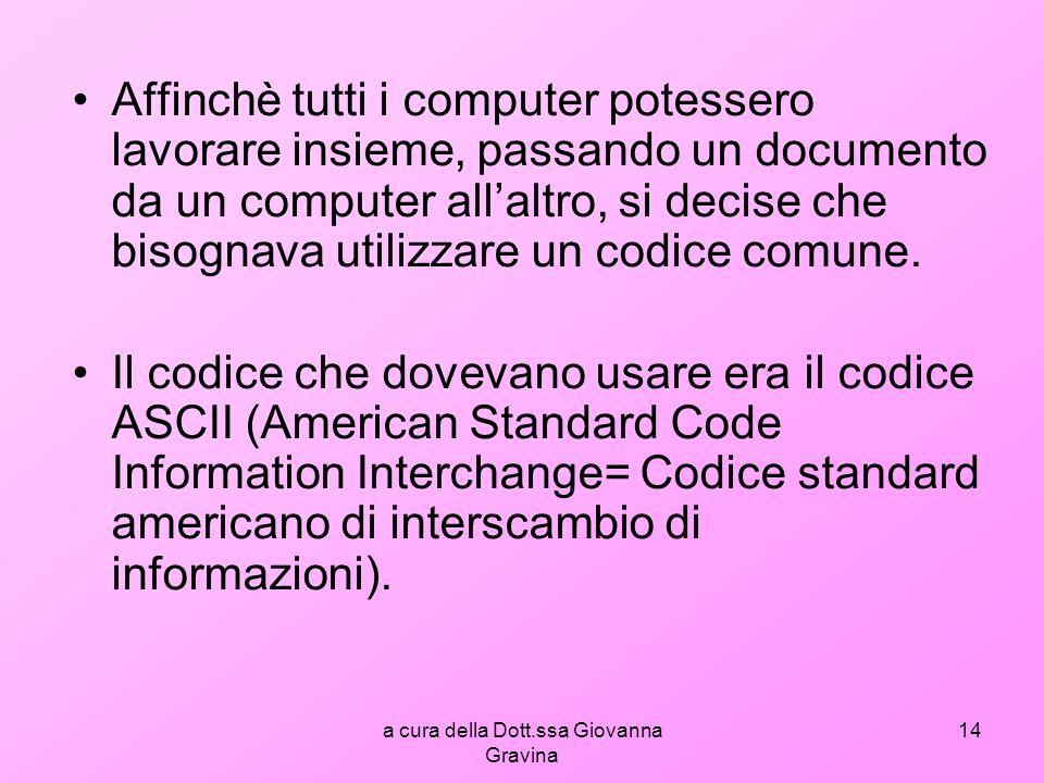 a cura della Dott.ssa Giovanna Gravina 14 Affinchè tutti i computer potessero lavorare insieme, passando un documento da un computer allaltro, si decise che bisognava utilizzare un codice comune.