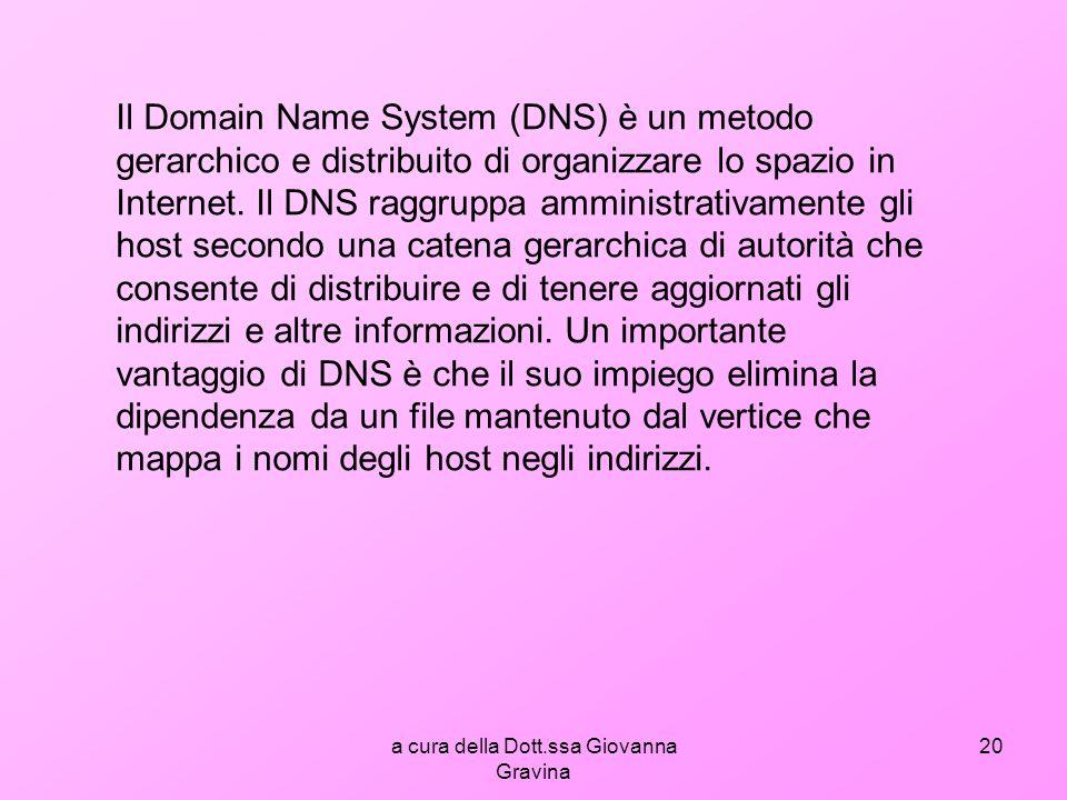a cura della Dott.ssa Giovanna Gravina 20 Il Domain Name System (DNS) è un metodo gerarchico e distribuito di organizzare lo spazio in Internet.