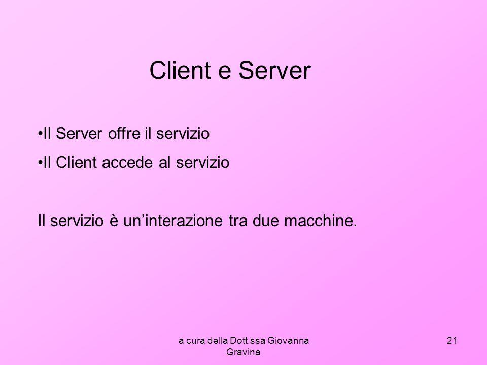 a cura della Dott.ssa Giovanna Gravina 21 Client e Server Il Server offre il servizio Il Client accede al servizio Il servizio è uninterazione tra due macchine.