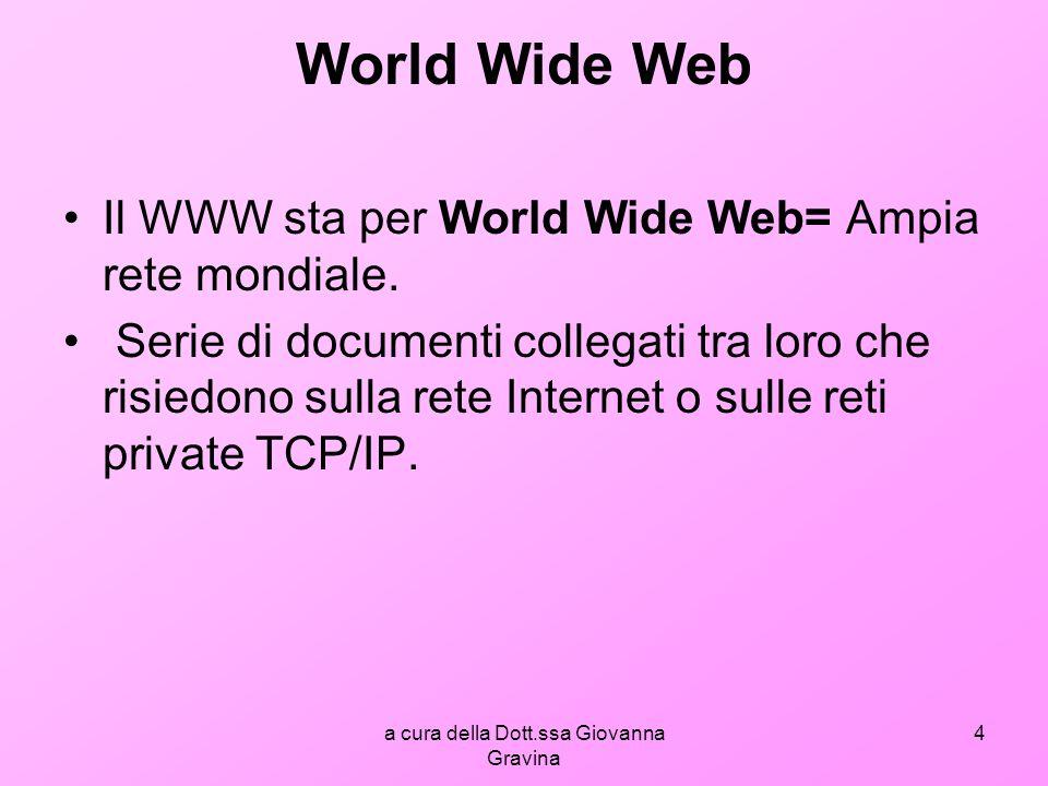 a cura della Dott.ssa Giovanna Gravina 4 World Wide Web Il WWW sta per World Wide Web= Ampia rete mondiale.