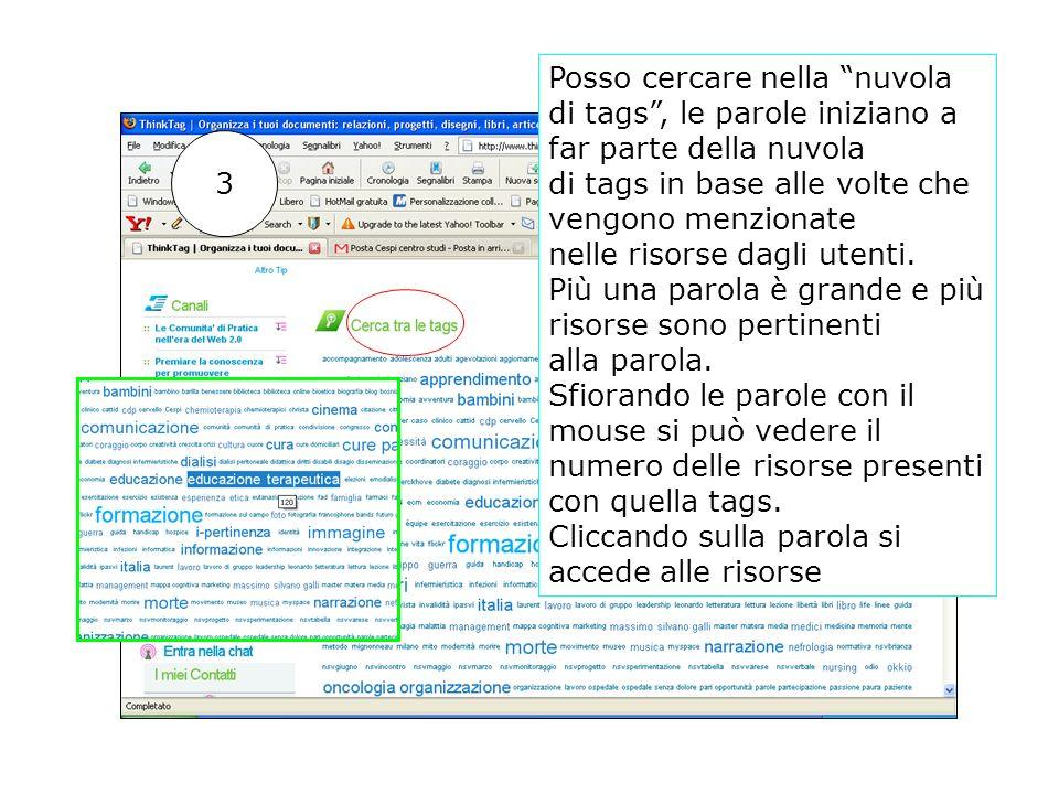 Posso cercare nella nuvola di tags, le parole iniziano a far parte della nuvola di tags in base alle volte che vengono menzionate nelle risorse dagli utenti.
