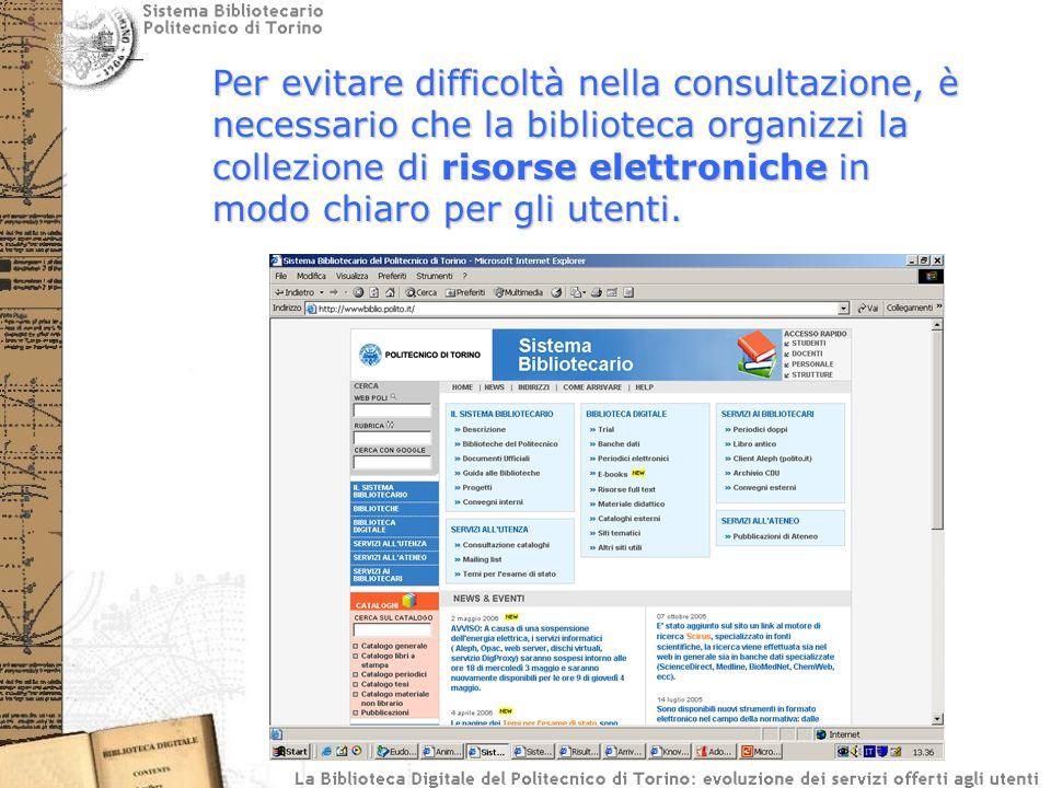 Per evitare difficoltà nella consultazione, è necessario che la biblioteca organizzi la collezione di risorse elettroniche in modo chiaro per gli utenti.