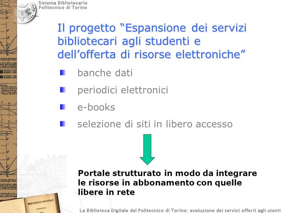 Il progetto Espansione dei servizi bibliotecari agli studenti e dellofferta di risorse elettroniche banche dati periodici elettronici e-books selezione di siti in libero accesso Portale strutturato in modo da integrare le risorse in abbonamento con quelle libere in rete