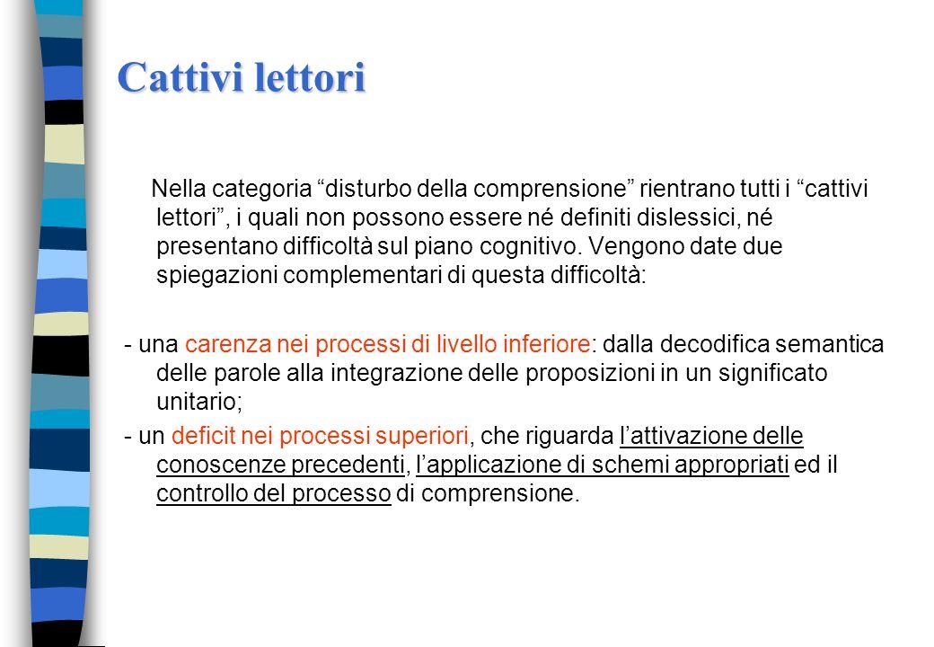 Comprensione del testo p. decifrativi p. linguistici p.cognitivi Memoria di lavoro
