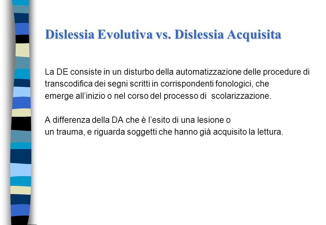 Definizione di dislessia evolutiva La Dislessia Evolutiva (DE) è: un disturbo manifestato nellapprendimento della lettura, nonostante istruzione adegu