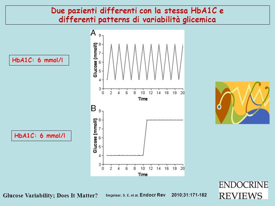 Siegelaar, S. E. et al. Endocr Rev 2010;31:171-182 Due pazienti differenti con la stessa HbA1C e differenti patterns di variabilità glicemica HbA1C: 6