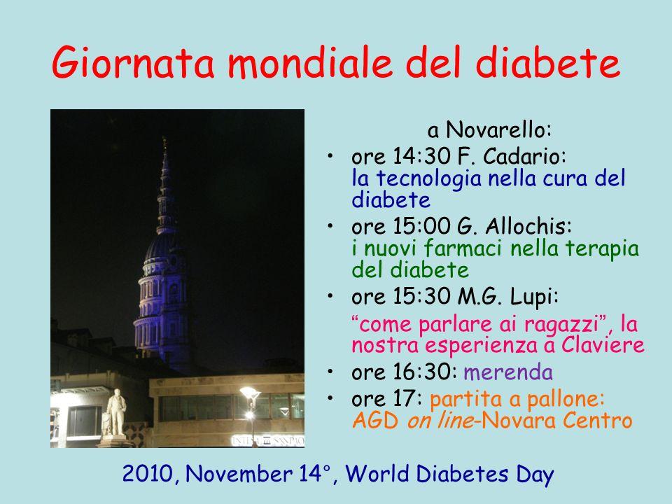 Giornata mondiale del diabete a Novarello: ore 14:30 F. Cadario: la tecnologia nella cura del diabete ore 15:00 G. Allochis: i nuovi farmaci nella ter