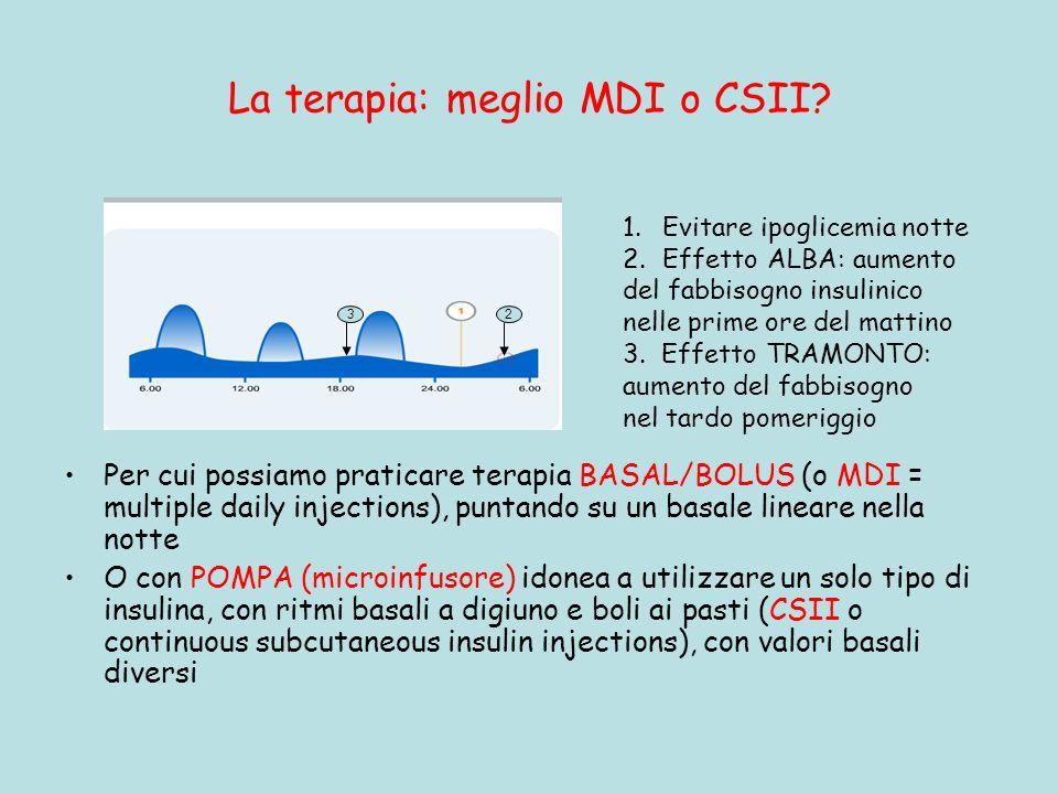 La terapia: meglio MDI o CSII? Per cui possiamo praticare terapia BASAL/BOLUS (o MDI = multiple daily injections), puntando su un basale lineare nella