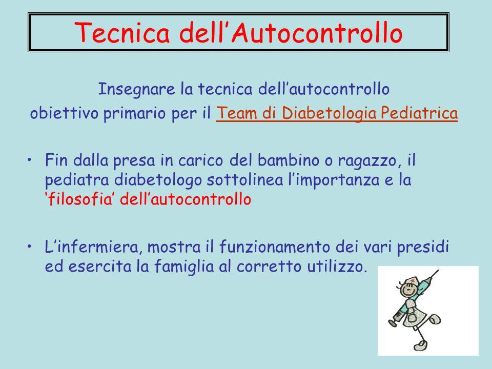 Insegnare la tecnica dellautocontrollo obiettivo primario per il Team di Diabetologia Pediatrica Fin dalla presa in carico del bambino o ragazzo, il p