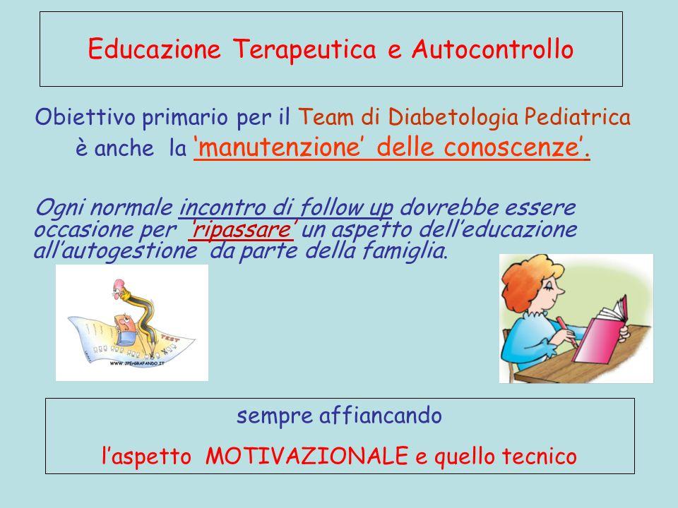 Obiettivo primario per il Team di Diabetologia Pediatrica è anche la manutenzione delle conoscenze. Ogni normale incontro di follow up dovrebbe essere